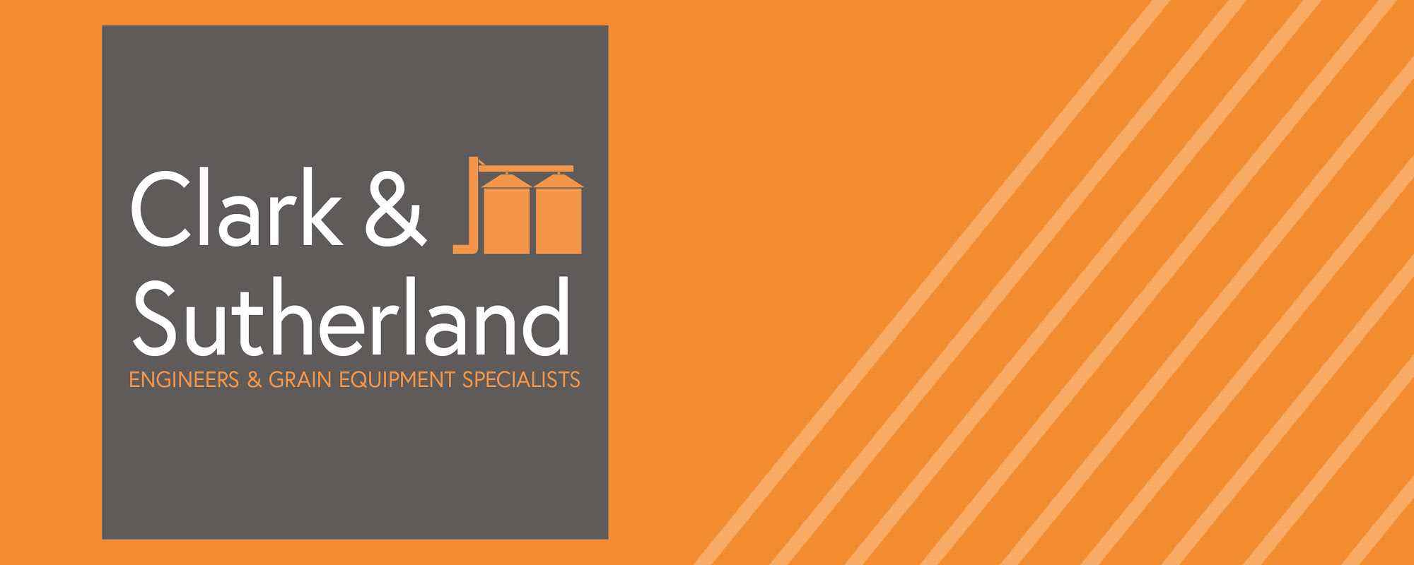 Our new look! Clark & Sutherland new logo on orange background