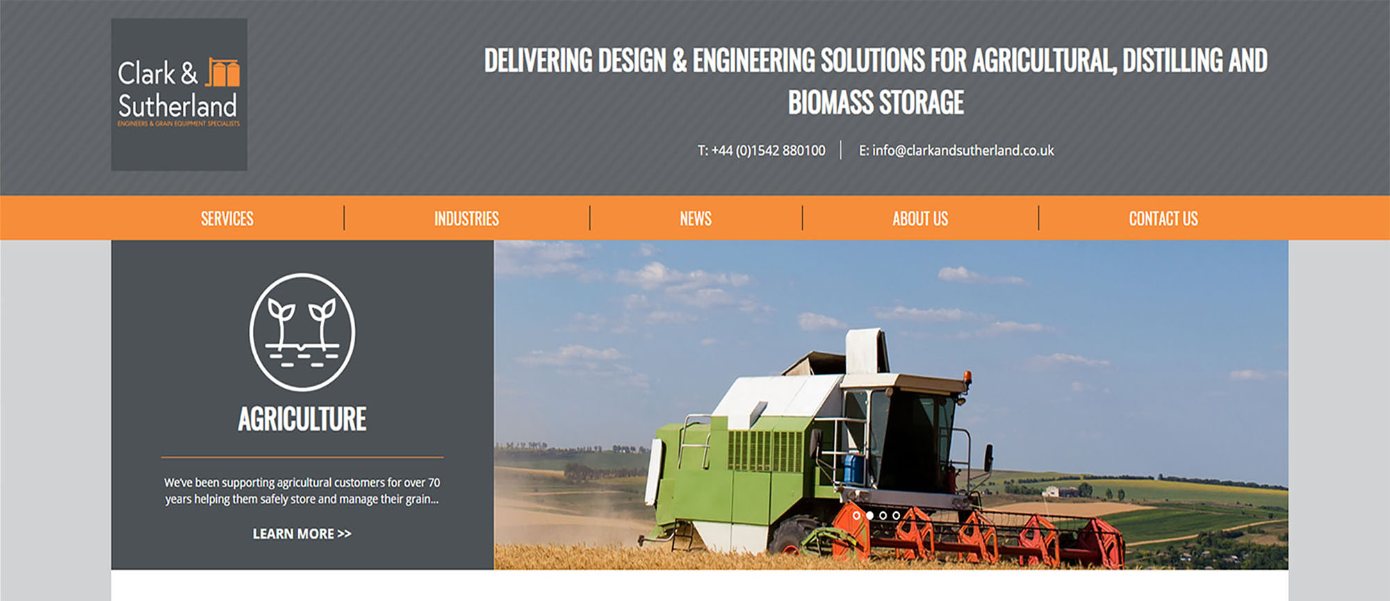 Screenshot of our new website featuring image of combine harvester